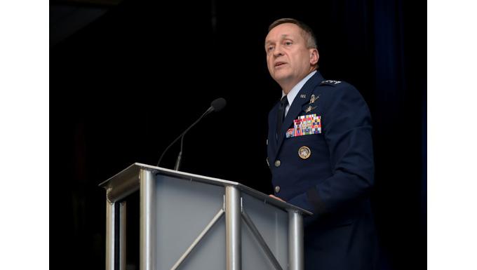 Fourteenth Air Force commander speaks at warfighter luncheon